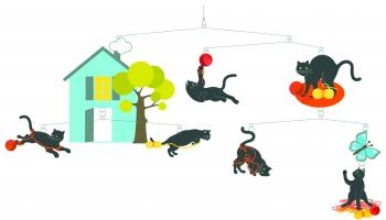Játékos cicák - Függő szobadísz papírból gyerekeknek (BNDD04336)