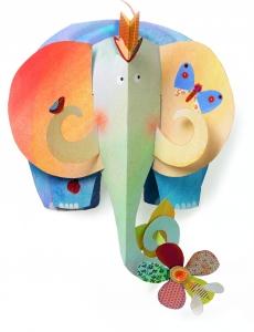 Kiselefánt - Háromdimenziós falidísz gyerekeknek (BNDD04902)