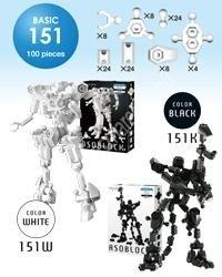 ASOBLOCK BASIC (BN151) 100 elem, fekete, vagy fehér színben - Kreativitást fejlesztő építő játék