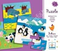 Állatok élőhelyükön, 6 db-os puzzle (BNDJ01552)