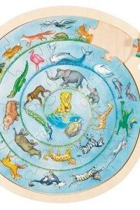 Kör kirakó Állatvilág (fa puzzle) - Fejlesztő játék (GK57790KP)